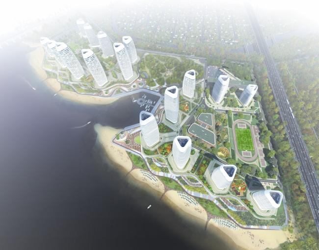 Жилой комплекс в урочище Горбачиха. Вид с высоты птичьего полета © Архиматика