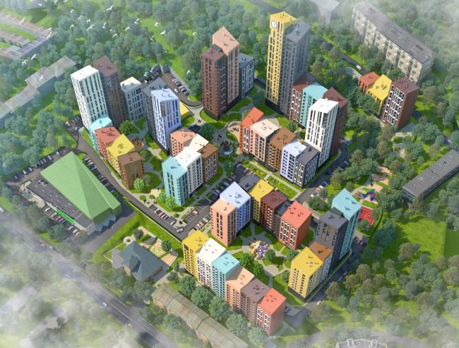 Жилой комплекс «Семицвет». Вид с высоты птичьего полета © Архиматика
