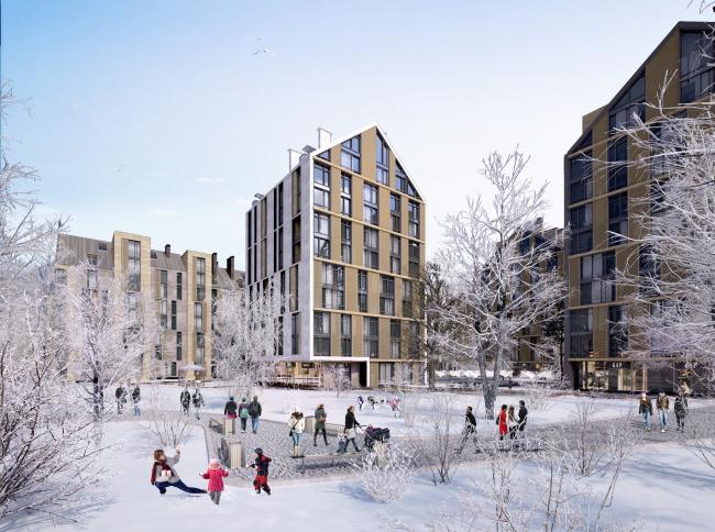 Жилой комплекс на улице Стрыйской в г. Львов. Парк © Архиматика