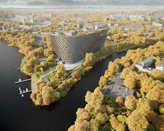 Radisson Blue hotel complex at the place of the confluence of the Moskva and Skhodnya rivers. Birds' height view © Arch group