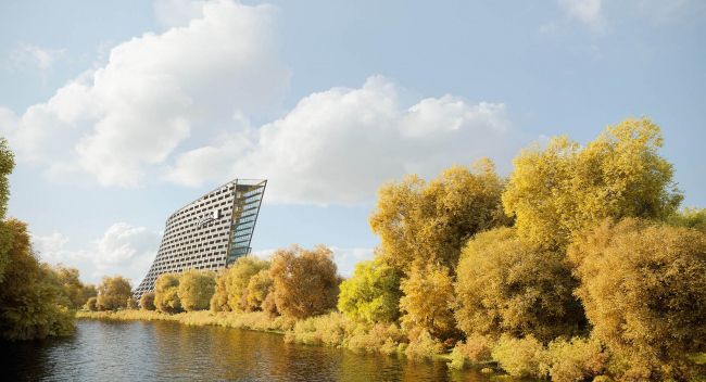 Radisson Blue hotel complex at the place of the confluence  of the Moskva and Skhodnya rivers © Arch group