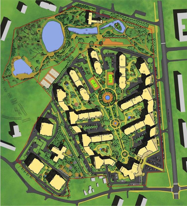 Жилой комплекс «Паркове місто» в Киеве. Генеральный план © Архиматика