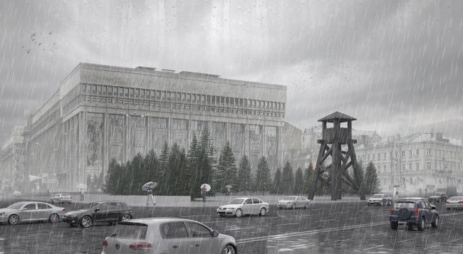 Проект мемориала жертвам политических репрессий на проспекте Сахарова. Вариант 1: «Вышка» © Arch group