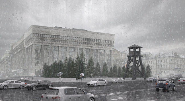"""Project of the memorial to the victims of the political repressions on the Sakharov Avenue. Version 1: """"Machine-gun tower"""" © Arch group"""