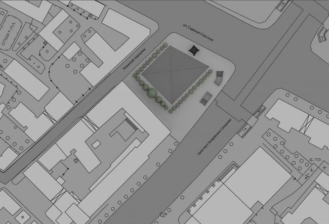 Проект мемориала жертвам политических репрессий на проспекте Сахарова. Вариант 1: «Вышка». Ситуационный план © Arch group