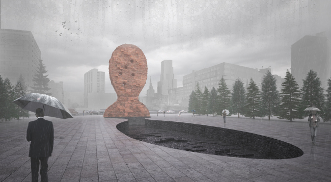 """Project of the memorial to the victims of the political repressions on the Sakharov Avenue. Version 2: """"Human head"""" © Arch group"""