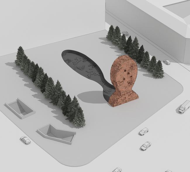 Проект мемориала жертвам политических репрессий на проспекте Сахарова. Вариант 2: «Голова» © Arch group