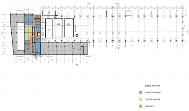 Научно-технический центр в Сколково. План -1 этажа © ABD architects