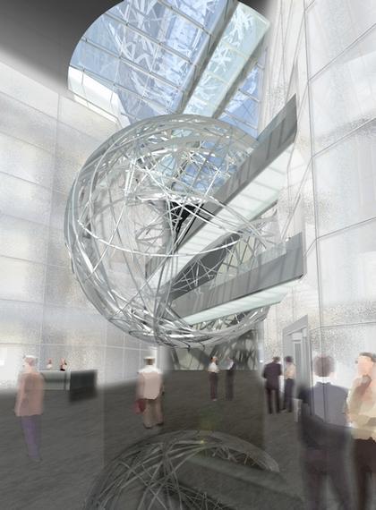 Марио Беллини. Проект реконструкции здания Deutsche Bank. Вид вестибюля