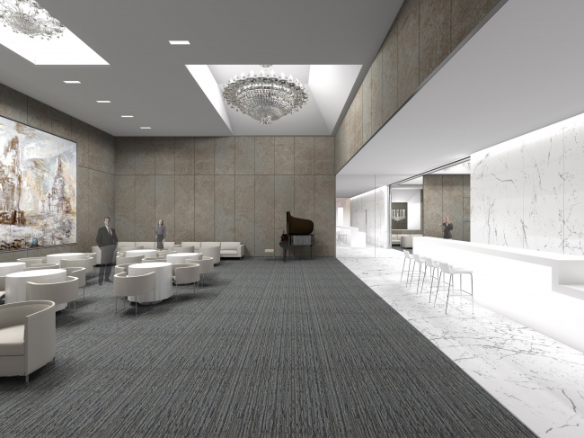 """Renovating """"Golden Circle Lounge"""" into """"Russian Lounge"""" in the Kennedy Center of the Performing Arts. Visualization © Sergey Skuratov ARCHITECTS"""