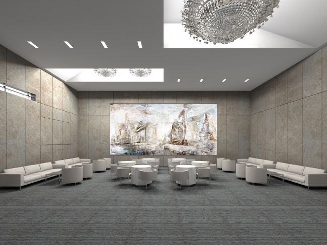 "Renovating ""Golden Circle Lounge"" into ""Russian Lounge"" in the Kennedy Center of the Performing Arts. Visualization © Sergey Skuratov ARCHITECTS"