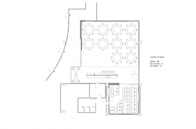 """Renovating """"Golden Circle Lounge"""" into """"Russian Lounge"""" in the Kennedy Center of the Performing Arts. Plan © Sergey Skuratov ARCHITECTS"""