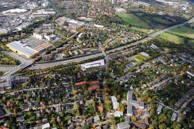 Автобан А7 в Гамбурге, район Штеллинген. Фото до начала работ © Mathias Friedel; Minitstry of Environment and Energy, BUE Hamburg