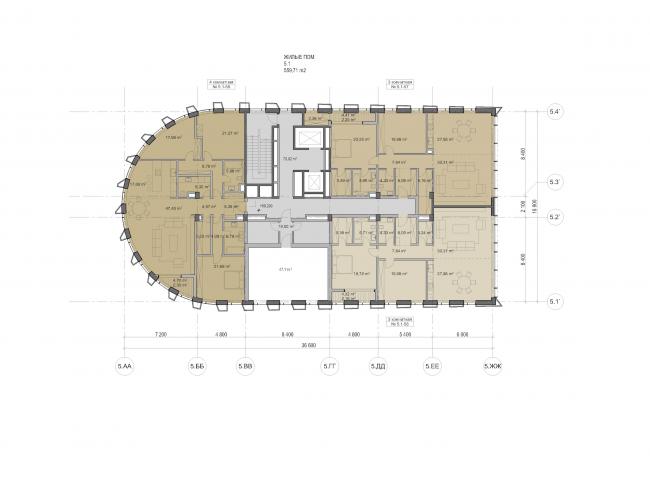 "Multifunctional residential development in Khamovniki (Quarter 5 of ""Sadovye Kvartaly"" complex). Plan of the 17th floor of Building 5.1 © Sergey Skuratov Architects"