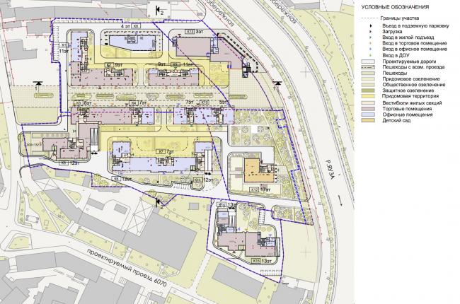 Концепция строительства многофункционального жилого комплекса на ул. Большая Почтовая. Схема первого этажа © Архитектурная мастерская «Группа АБВ»