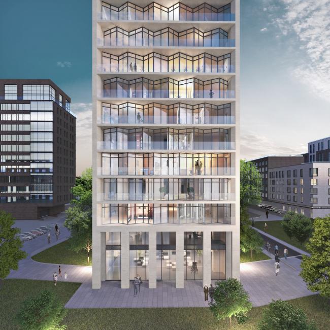 Концепция строительства многофункционального жилого комплекса на ул. Большая Почтовая © Архитектурная мастерская «Группа АБВ»