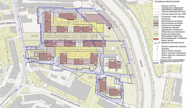 Концепция строительства многофункционального жилого комплекса на ул. Большая Почтовая. Генеральный план © Архитектурная мастерская «Группа АБВ»