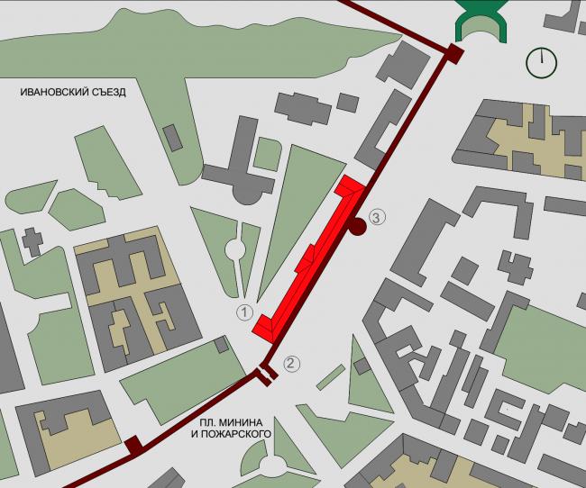 Филиал ГЦСИ в здании Арсенала в Нижнем Новгороде. Ситуационный план © Архитекторы Асс