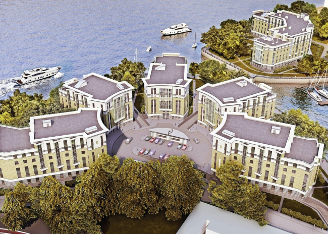 Проект гостиничного комплекса на Петровском острове © «ЛЕННИИПРОЕКТ», мастерская №6