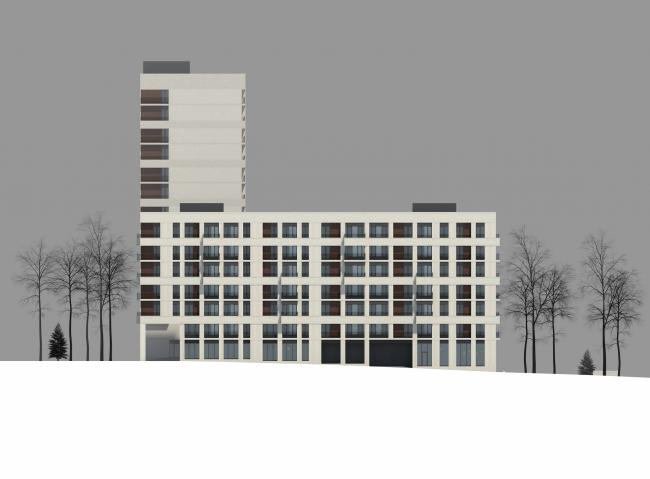 Жилой комплекс на ул. Гришина. Фасад. Проект, 2015 © Сергей Киселёв и Партнеры