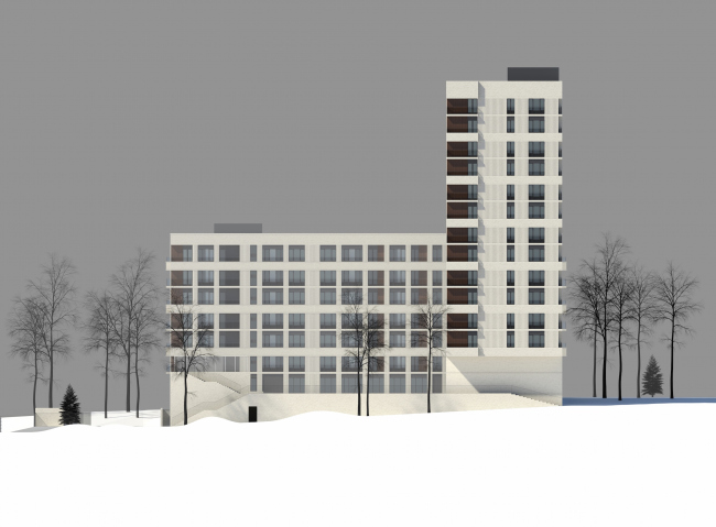 Residential complex on the Grishina Street. Facade. Project, 2015 © Sergey Kiselev and partners