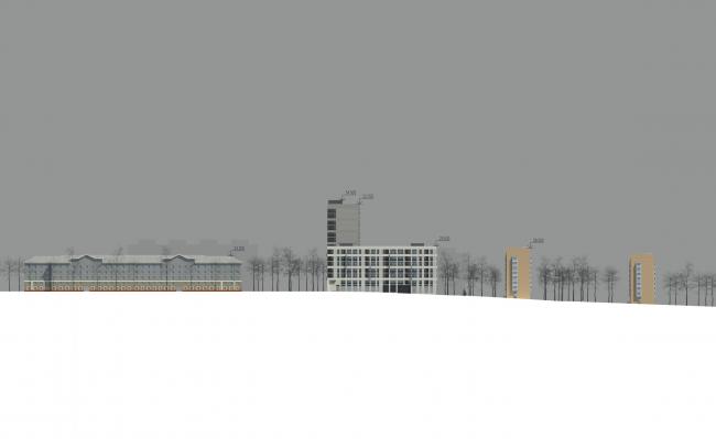 Жилой комплекс на ул. Гришина. Схема развертки по ул. Гришина. Проект, 2015 © Сергей Киселёв и Партнеры