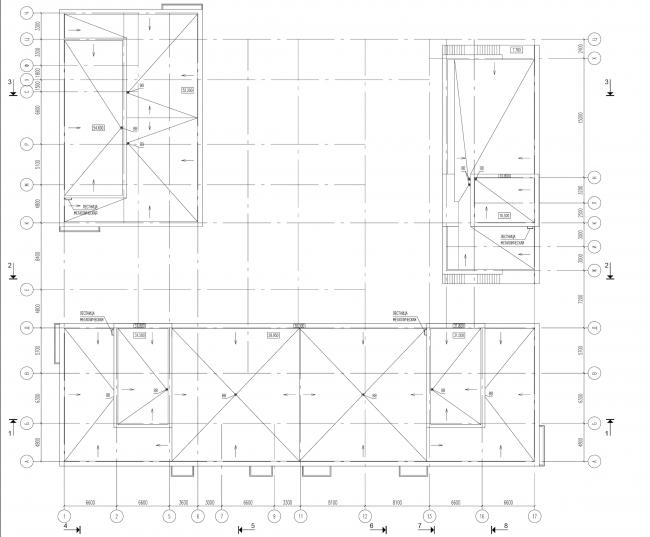 Жилой комплекс на ул. Гришина. План кровли. Проект, 2015 © Сергей Киселёв и Партнеры