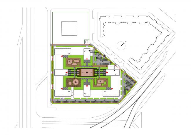 Жилой комплекс «LEGENDA на Дальневосточном, 12». Генеральный план. Проект, 2015 © Евгений Герасимов и партнеры