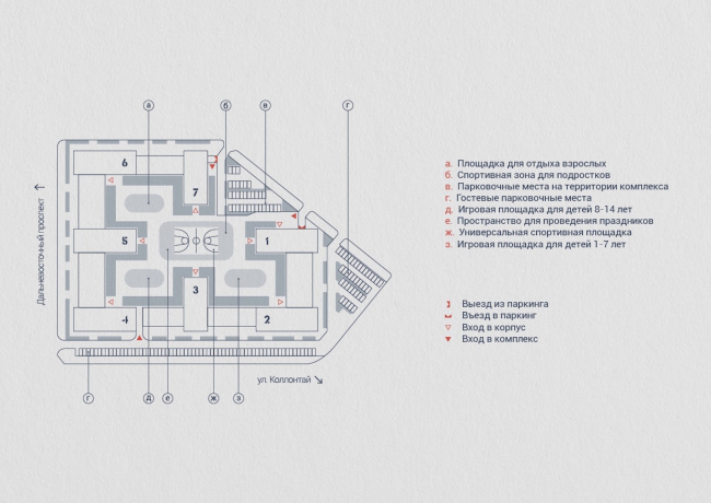 Жилой комплекс «LEGENDA на Дальневосточном, 12». Схема двора. Проект, 2015 © Евгений Герасимов и партнеры
