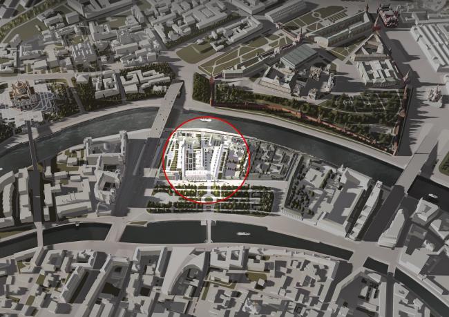 Multifunctional integrated development of the Sofiyskaya Embankment. Location plan © Sergey Skuratov ARCHITECTS