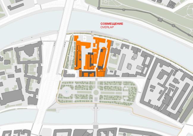 Многофункциональная комплексная застройка на Софийской набережной. Совмещение © Сергей Скуратов ARCHITECTS