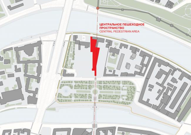 Multifunctional integrated development of the Sofiyskaya Embankment. The central pedestrian area © Sergey Skuratov ARCHITECTS
