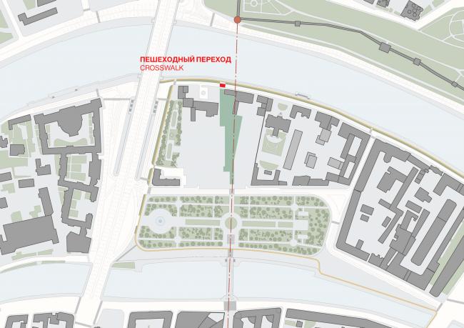 Многофункциональная комплексная застройка на Софийской набережной. Пешеходный переход © Сергей Скуратов ARCHITECTS