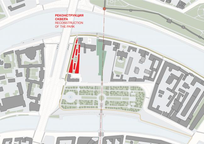 Многофункциональная комплексная застройка на Софийской набережной. Реконструкция сквера © Сергей Скуратов ARCHITECTS