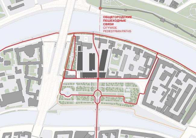 Многофункциональная комплексная застройка на Софийской набережной. Пешеходные связи © Сергей Скуратов ARCHITECTS