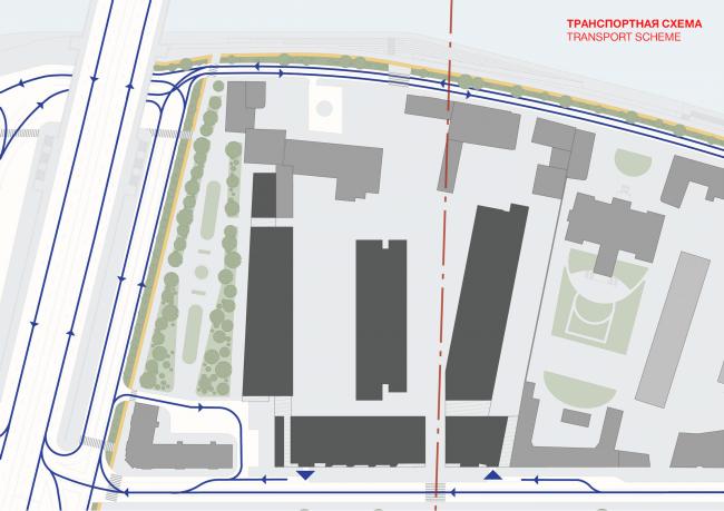 Многофункциональная комплексная застройка на Софийской набережной. Транспортная схема © Сергей Скуратов ARCHITECTS