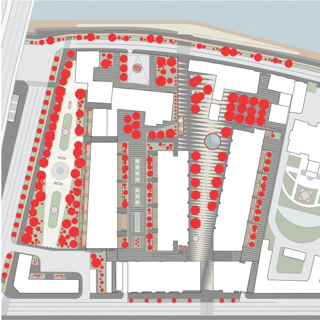 Многофункциональная комплексная застройка на Софийской набережной. Деревья © Сергей Скуратов ARCHITECTS
