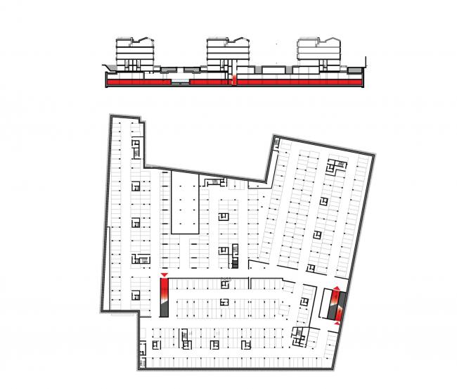 Многофункциональная комплексная застройка на Софийской набережной. План -2 этажа. Парковка с рампами © Сергей Скуратов ARCHITECTS