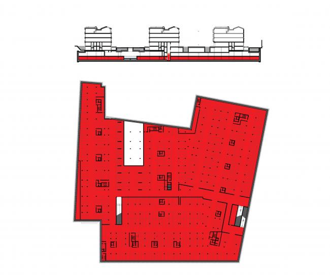 Многофункциональная комплексная застройка на Софийской набережной. План -2 этажа. Парковка © Сергей Скуратов ARCHITECTS