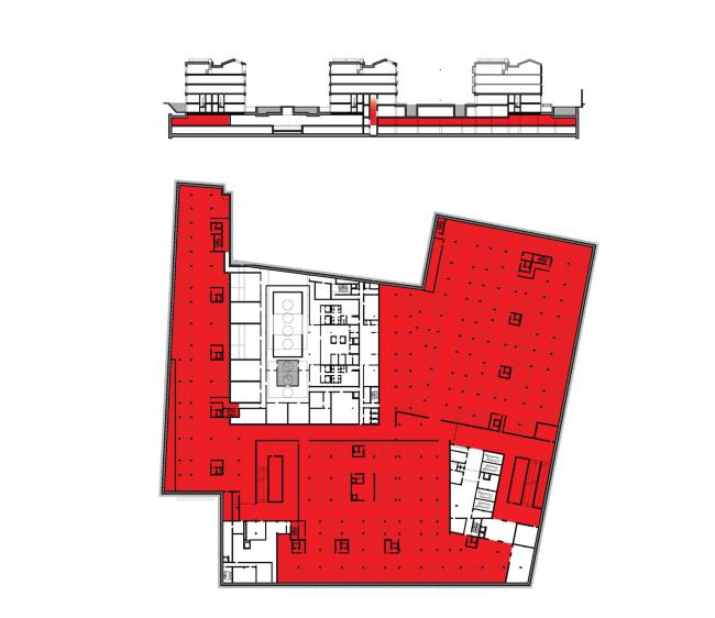 Многофункциональная комплексная застройка на Софийской набережной. План–1 этажа. Общественная парковка © Сергей Скуратов ARCHITECTS