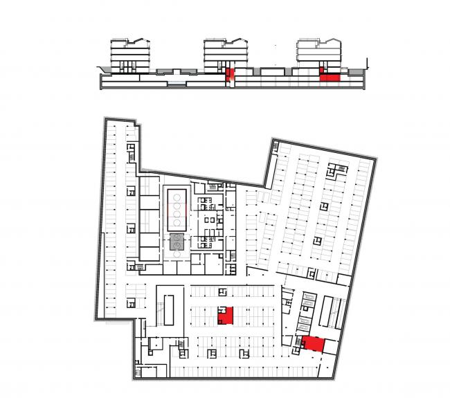Многофункциональная комплексная застройка на Софийской набережной. План -1 этажа. Загрузка (ритейл и фитнес) © Сергей Скуратов ARCHITECTS