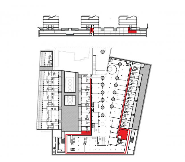 Многофункциональная комплексная застройка на Софийской набережной. План цокольного этажа. Загрузка (ритейл и фитнес) © Сергей Скуратов ARCHITECTS
