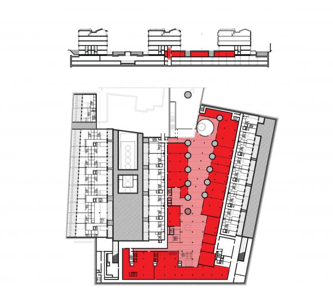 Многофункциональная комплексная застройка на Софийской набережной. План цокольного этажа. Ритейл и фитнес © Сергей Скуратов ARCHITECTS