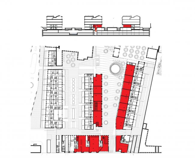 Многофункциональная комплексная застройка на Софийской набережной. План 1 этажа. Ритейл © Сергей Скуратов ARCHITECTS