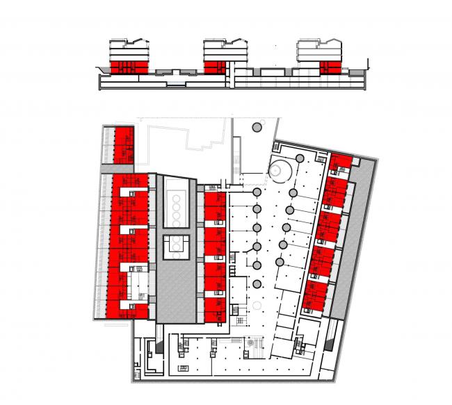 Многофункциональная комплексная застройка на Софийской набережной. План нижнего уровня двухуровневых квартир © Сергей Скуратов ARCHITECTS