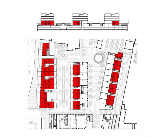Многофункциональная комплексная застройка на Софийской набережной. Верхний уровень двухуровневых квартир © Сергей Скуратов ARCHITECTS