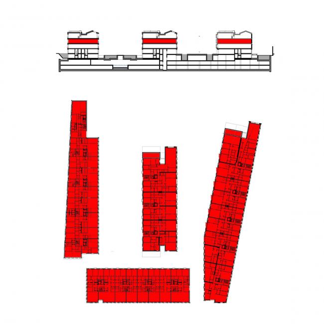 Многофункциональная комплексная застройка на Софийской набережной. Жилье 3 этажа © Сергей Скуратов ARCHITECTS