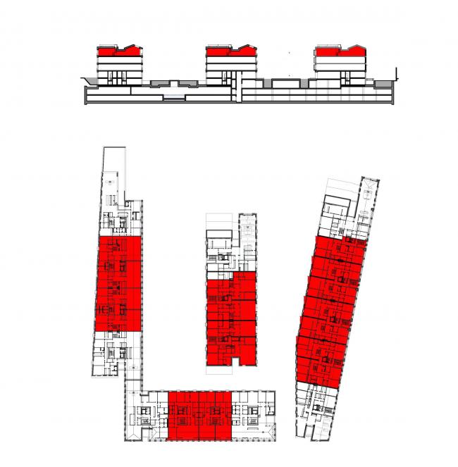 Многофункциональная комплексная застройка на Софийской набережной. Жилье 4  этажа © Сергей Скуратов ARCHITECTS