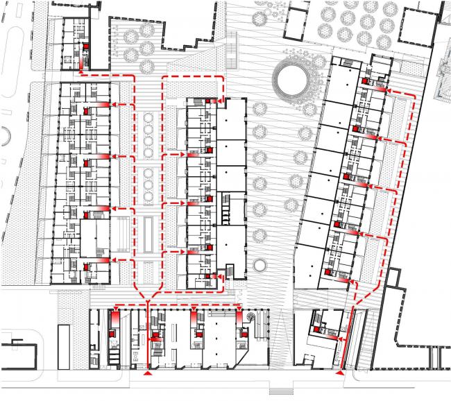 Многофункциональная комплексная застройка на Софийской набережной. Входы для жильцов © Сергей Скуратов ARCHITECTS