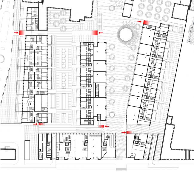 Многофункциональная комплексная застройка на Софийской набережной. Входы на частную территорию © Сергей Скуратов ARCHITECTS